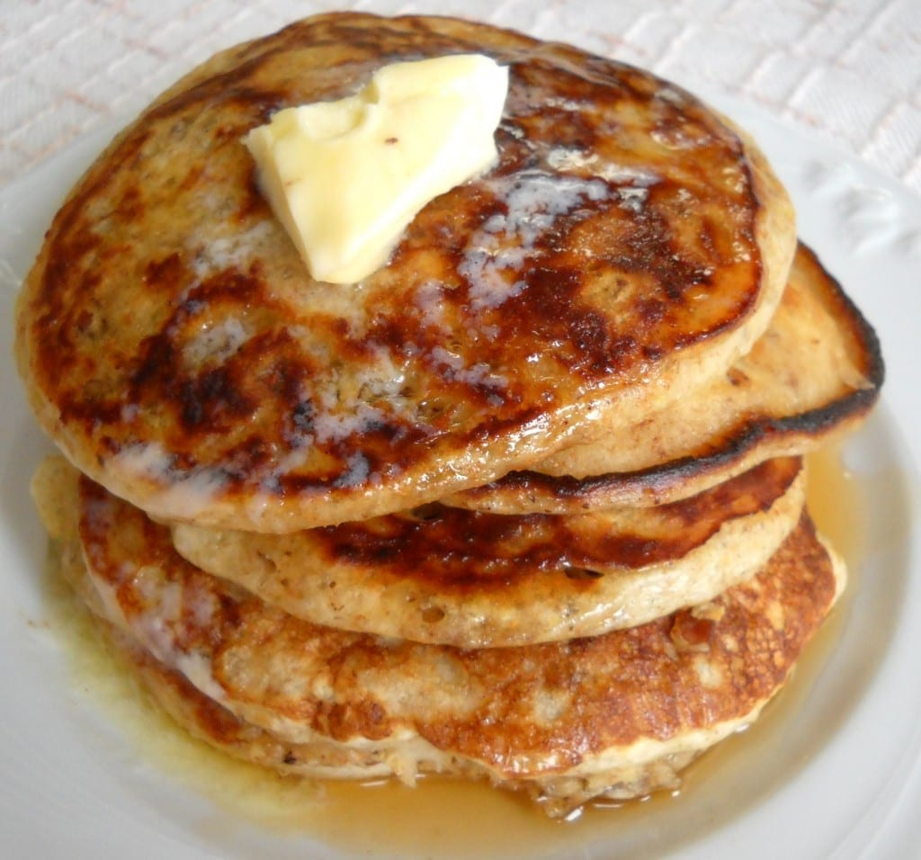 Pecan Buttermilk Pancakes with Whiskey Maple Sauce from My Kitchen Wand