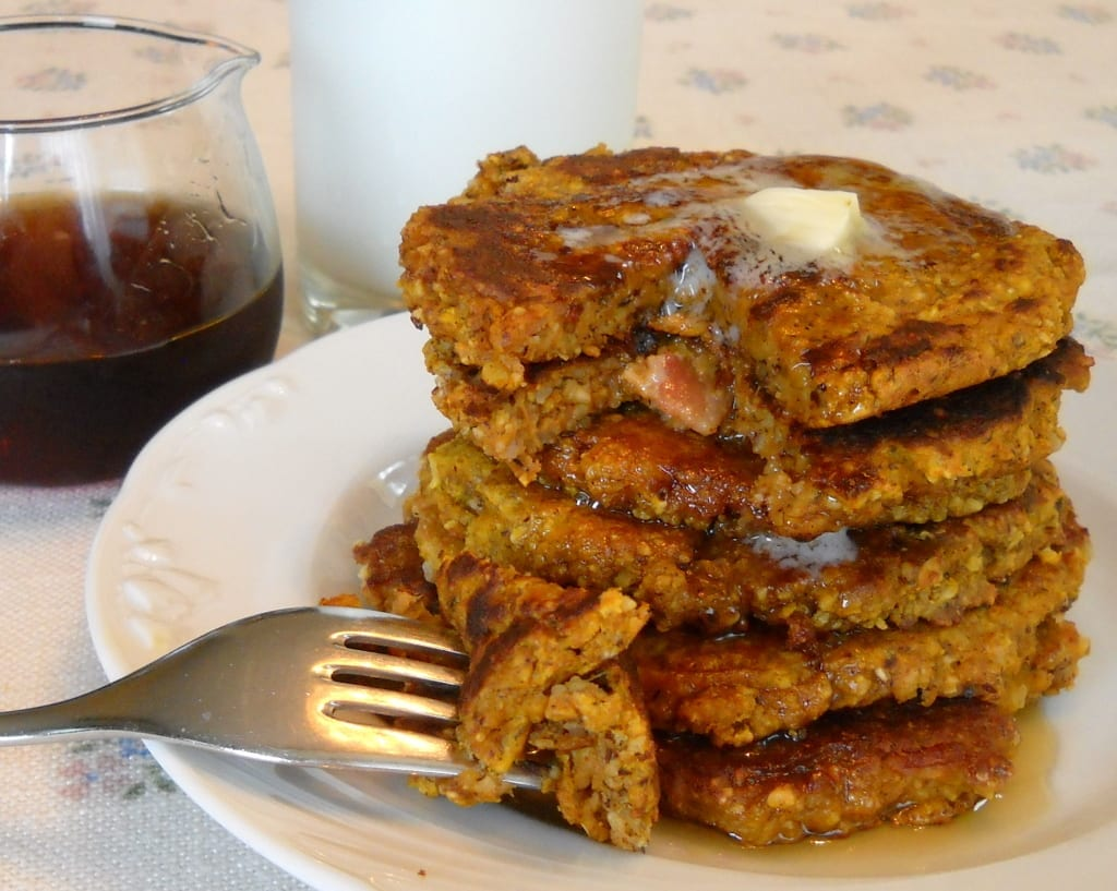 Oat Pumpkin Pancakes with Bacon & Pecans ( Gluten free ) from My Kitchen Wand