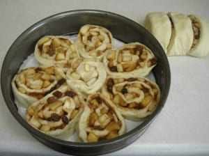 Apple Cinnamon Rolls with Rum Soaked Raisins and Cream Cheese Glaze from My Kitchen Wand