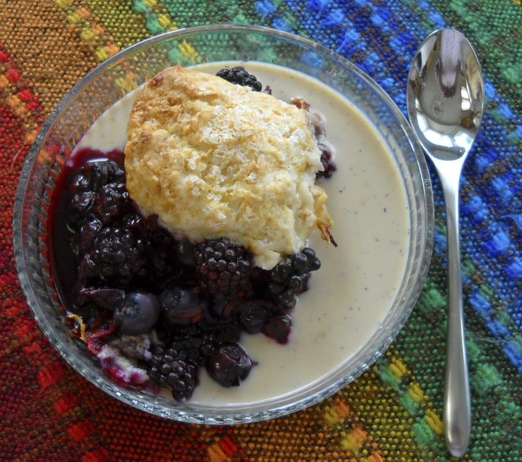 Black and Blue Cobbler with Earl Grey Custard Sauce from My Kitchen Wand