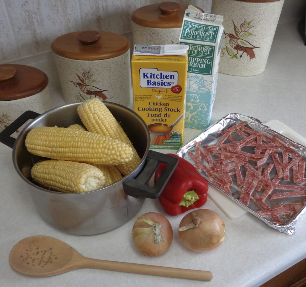 Fresh Corn Soup with Crispy Salami from My Kitchen Wand