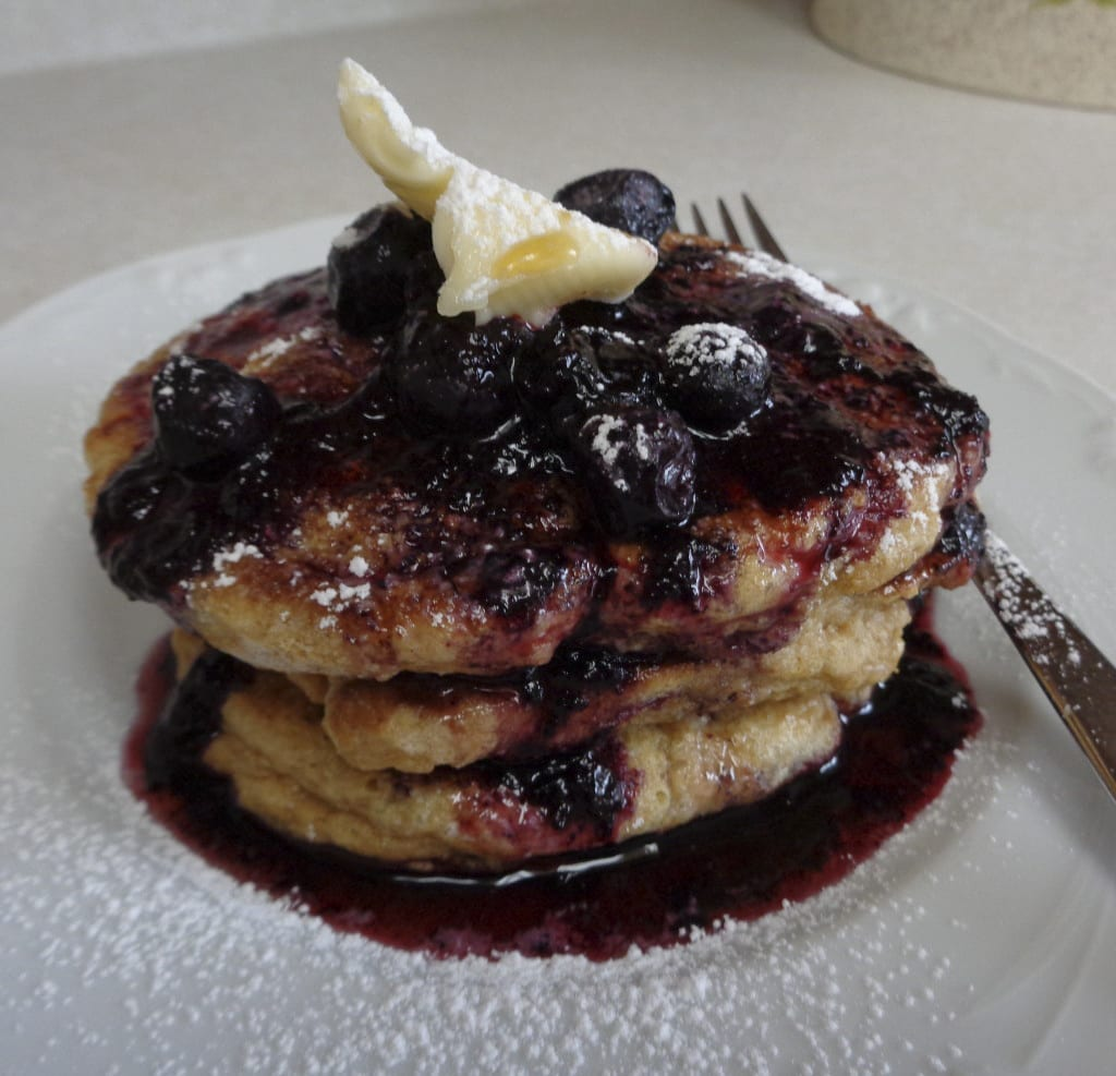 Einkorn Pancakes with Blueberries and Blackberry Puree from My Kitchen Wand