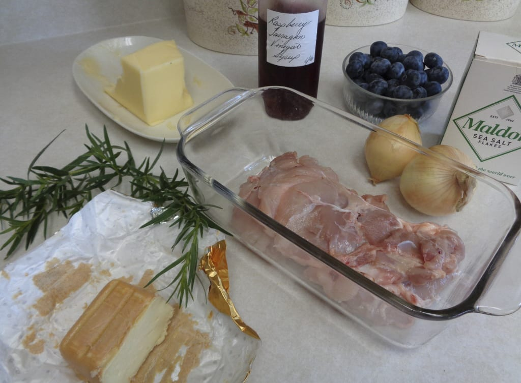 Raspberry Shrub Chicken with Blueberries and Tarragon from My Kitchen Wand