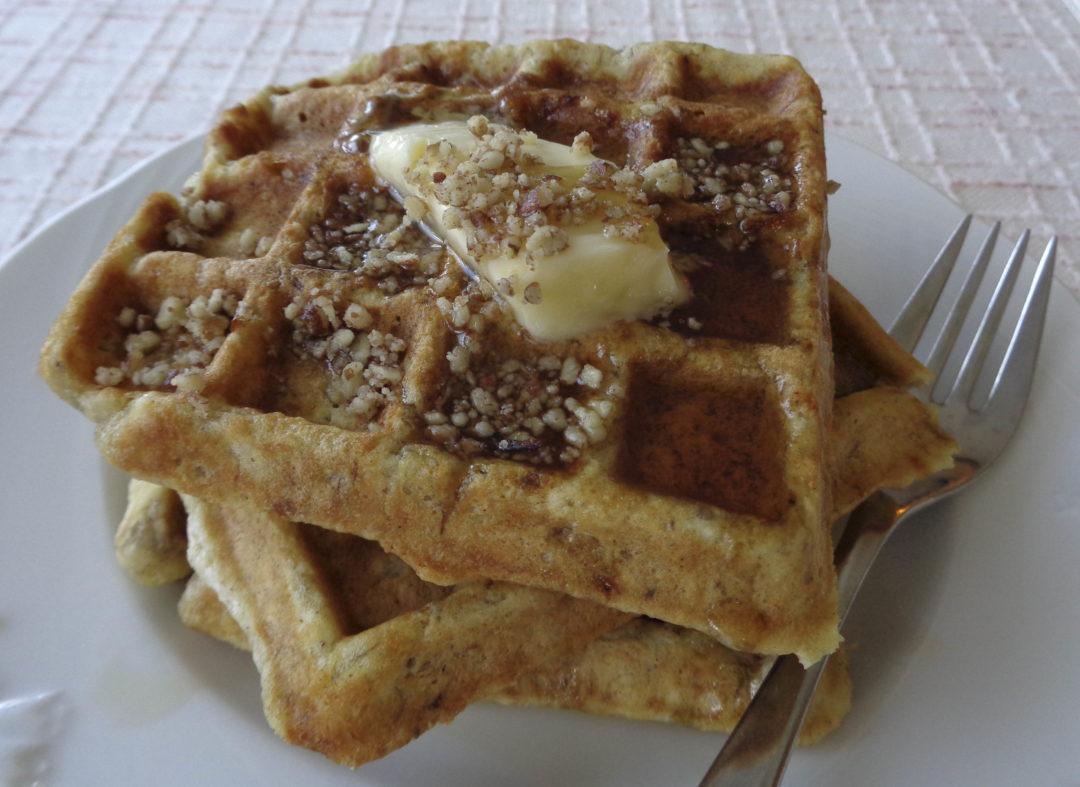 Banana Pecan Waffles
