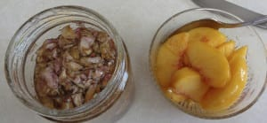 Peaches in Rose Honey with Almond Waffles from My Kitchen Wand