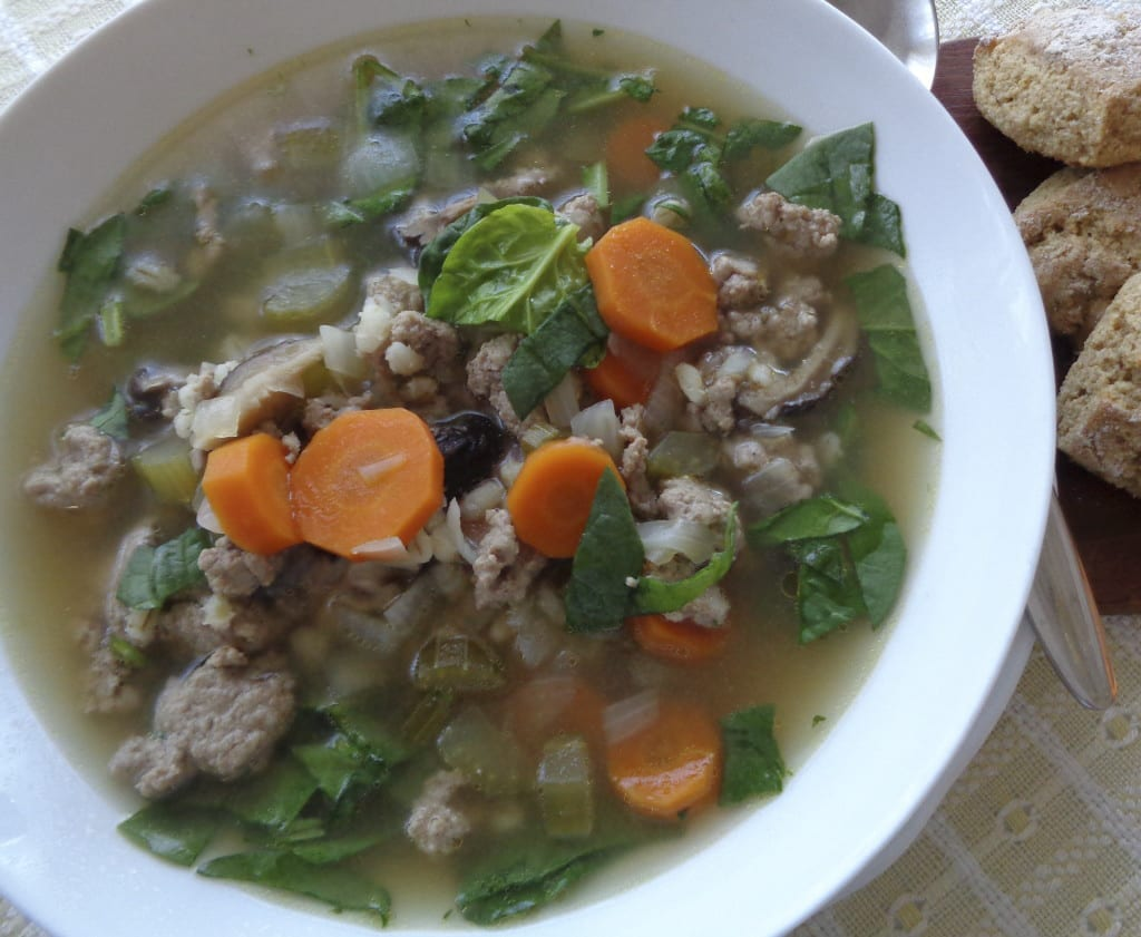 Turkey Barley Spinach Soup from My Kitchen Wand