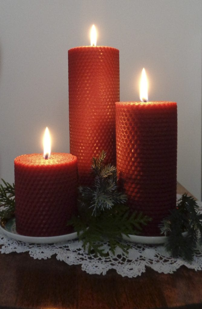 Rolled Beeswax Pillar Candles from My Kitchen Wand