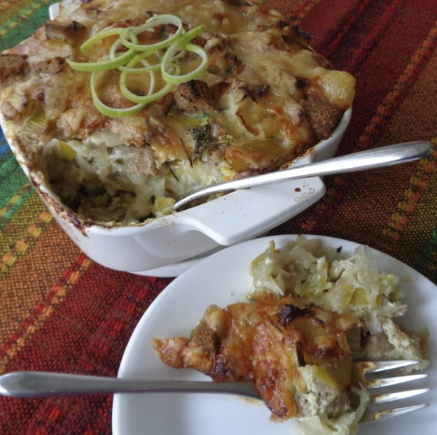 Leek & Potato Einkorn Bread Pudding from My Kitchen Wand