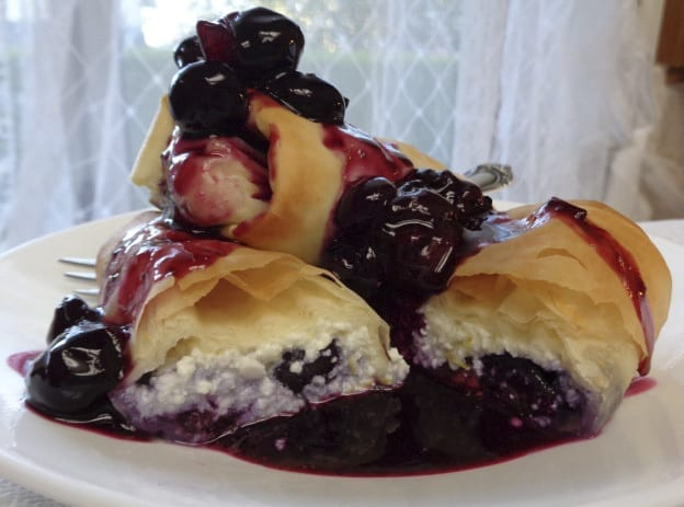 Ricotta in Filo with Blueberry Sauce from My Kitchen Wand
