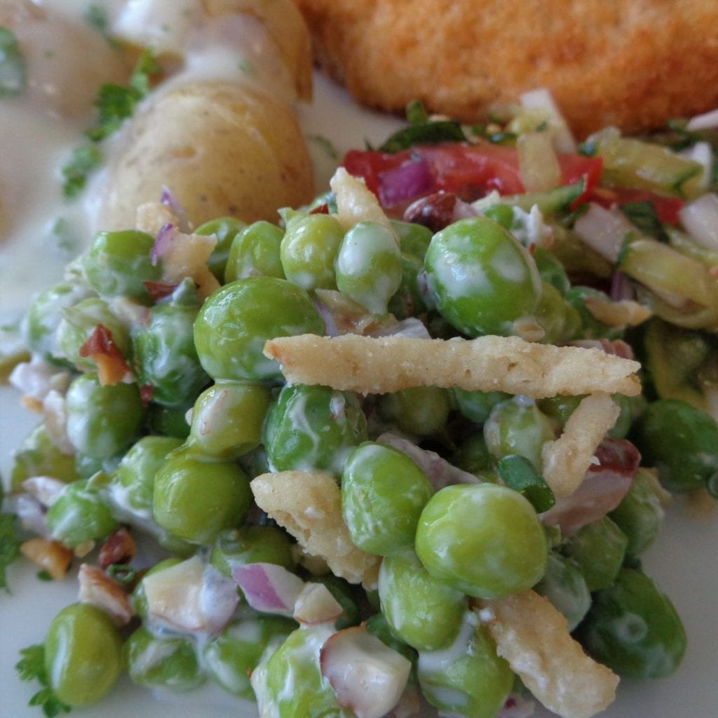 Fresh Pea Salad with Chives and Almonds from My Kitchen Wand