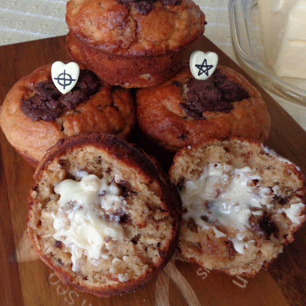 Banana Peanut Butter Chocolate Chip Muffins from My Kitchen Wand