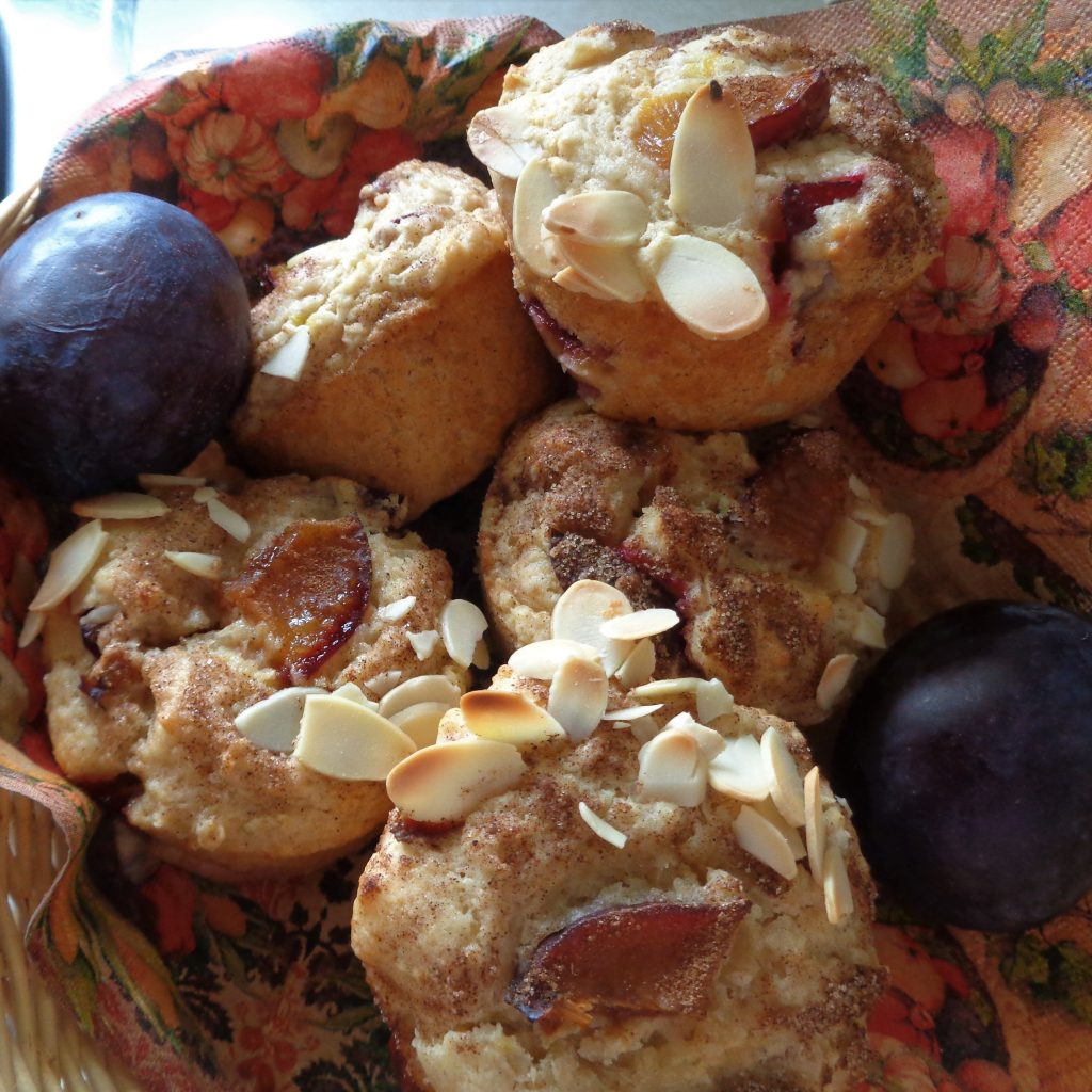 Cinnamon Plum Muffins with Yoghurt & Almonds from My Kitchen Wand