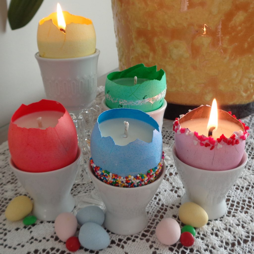 Dyed Egg Shell Candles from My Kitchen Wand
