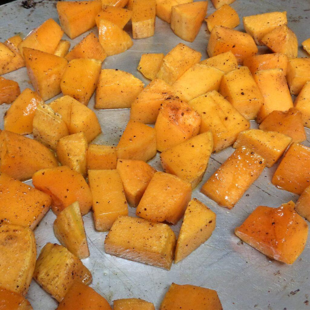 Butternut Squash with 5 spice, maple syrup, white pepper and parsley from My Kitchen Wand